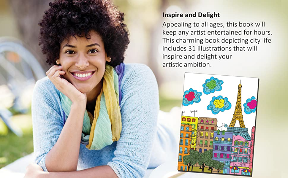 Adult colouring books, stress busters,  Dreamland Publicatons, Cityscape