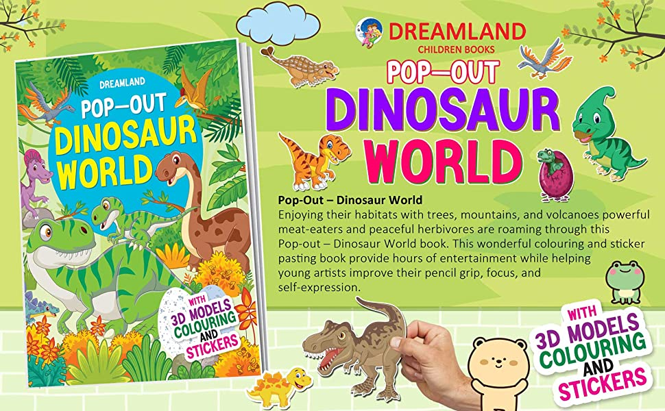 Dinosaurs World - Pop-Out Book with 3D Models Colouring and Stickers for Children