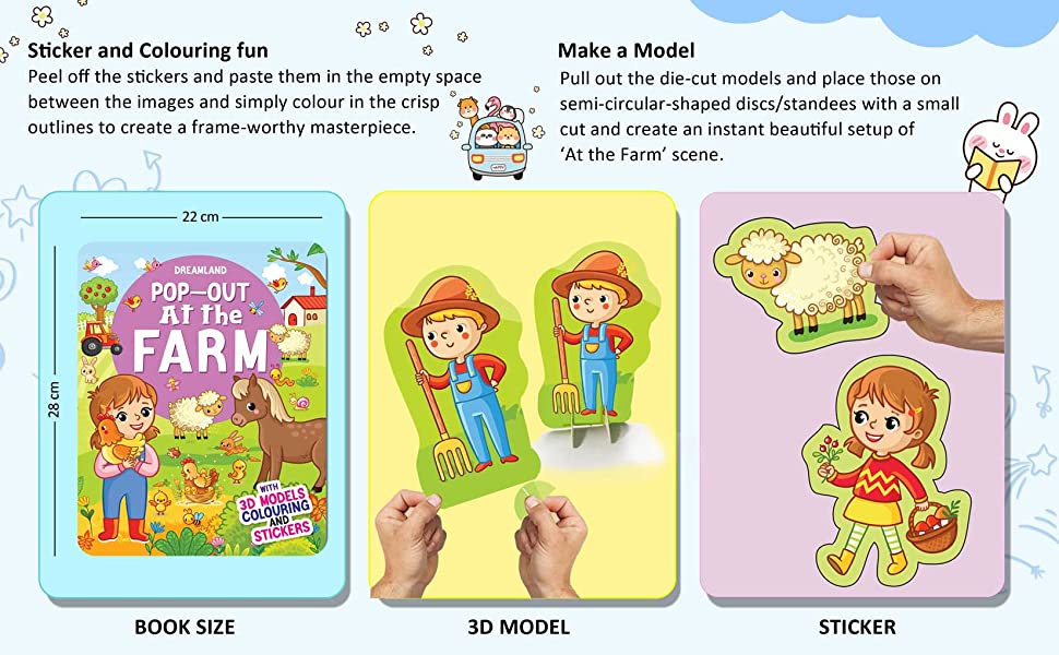 At the Farm - Pop-Out Book with 3D Models Colouring and Stickers for Children
