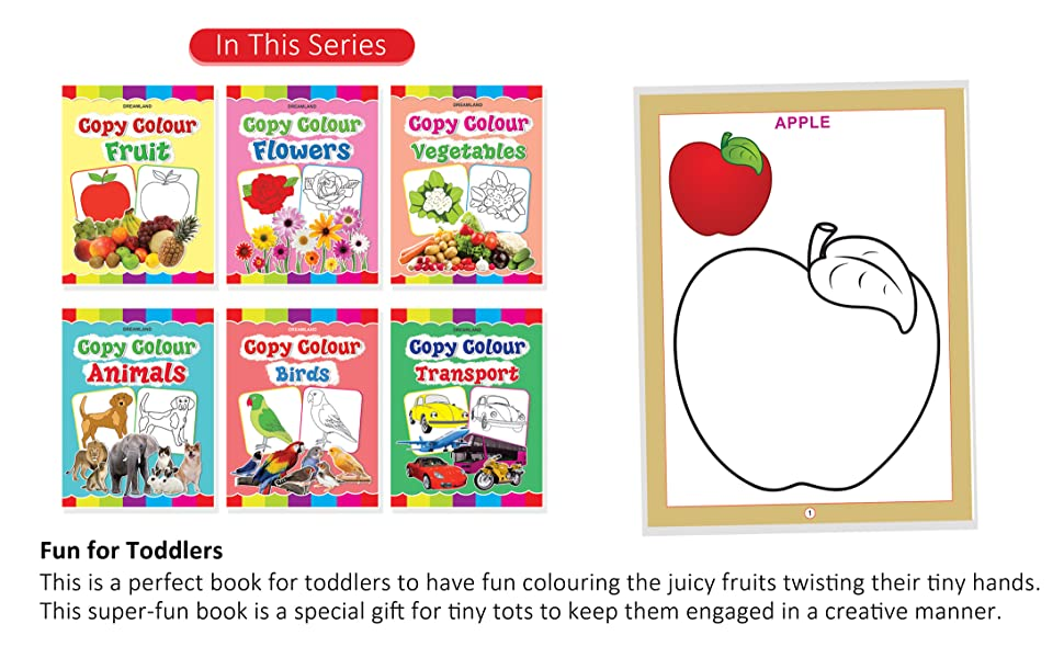 copy colour, painting, drawing, crayons, fruit, vegetable, animals, Dreamland Publications