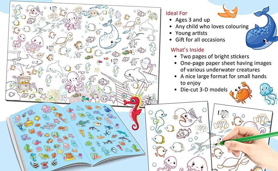 Under the Ocean - Pop-Out Book with 3D Models Colouring and Stickers for Children